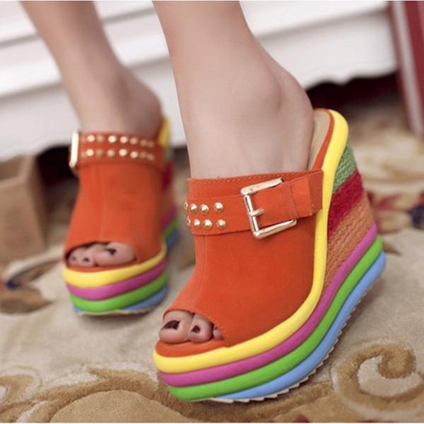 Модные женские туфли женские женские клинья High Multicolor Лоскутная сандалии Peep Toe римские обувь тапочки для женщин повседневные