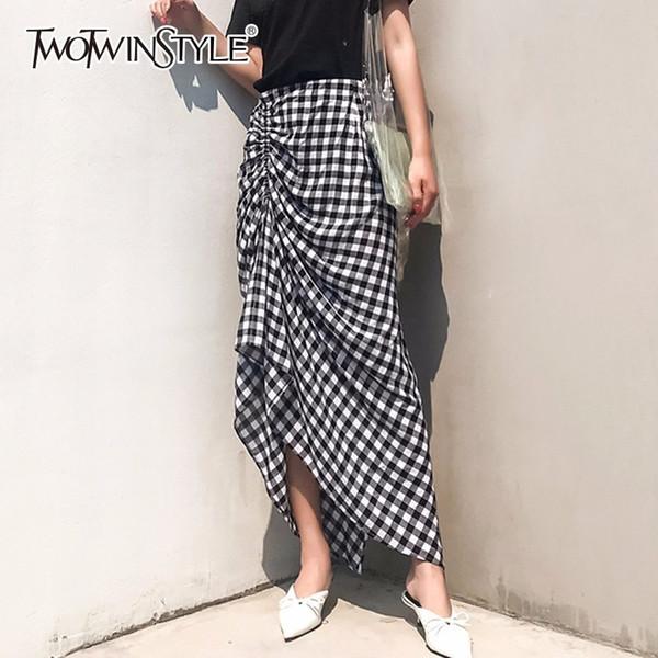 Twotwinstyle Geraffte Plaid Rock Weibliche Hohe Taille Split Unregelmäßige Midi Strand Röcke 2018 Sommer Mode Süße Damen Kleidung J190426