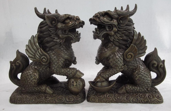 10 Chinese Bronze Copper Evil Dragon Beast Foo Dog Lion Kirin kylin Unicorn Pair