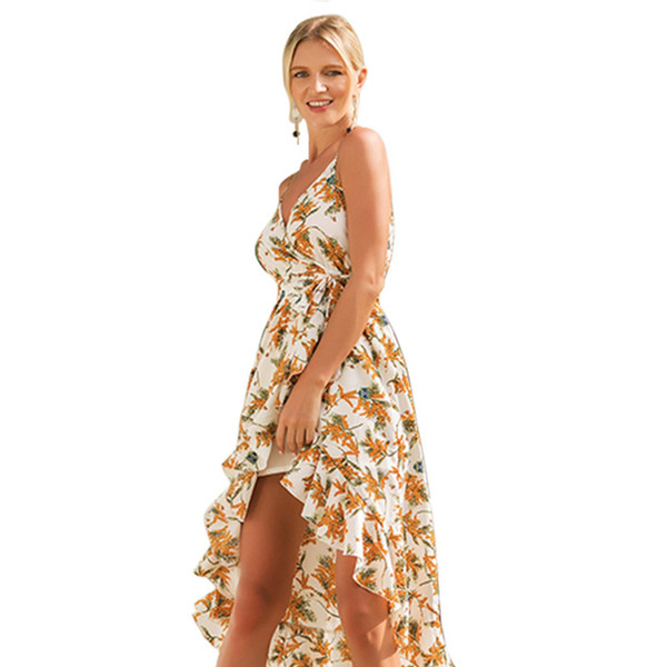 New sling print holiday dress Leaves Printed sling dresses bohemian holiday hang neck summer beach casual dresses for women plus size