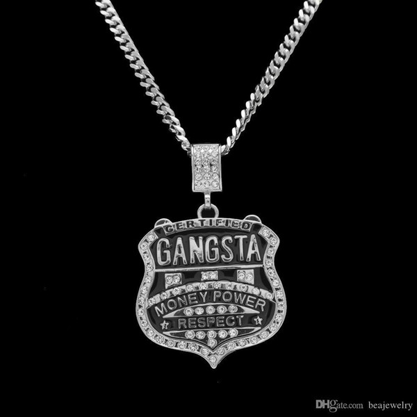 Hip hop Jewelry GANGSTA Medal Shield Rhinestones Badge Pendant Necklace Europe And The United States For Men
