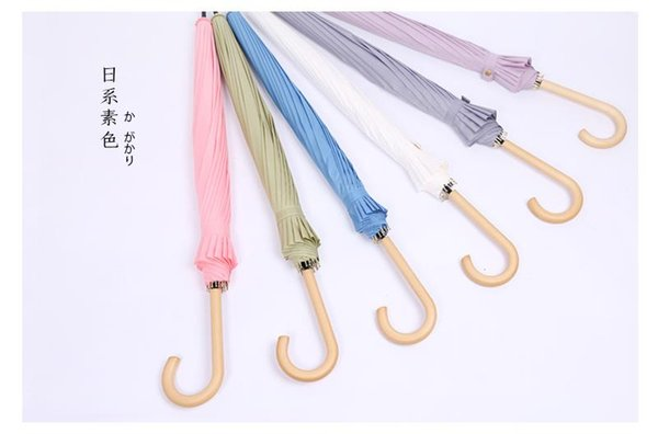 Vintage Wood Handle Strong Long Rain Umbrella Women Men 16K Glassfiber Japanese style Parasol