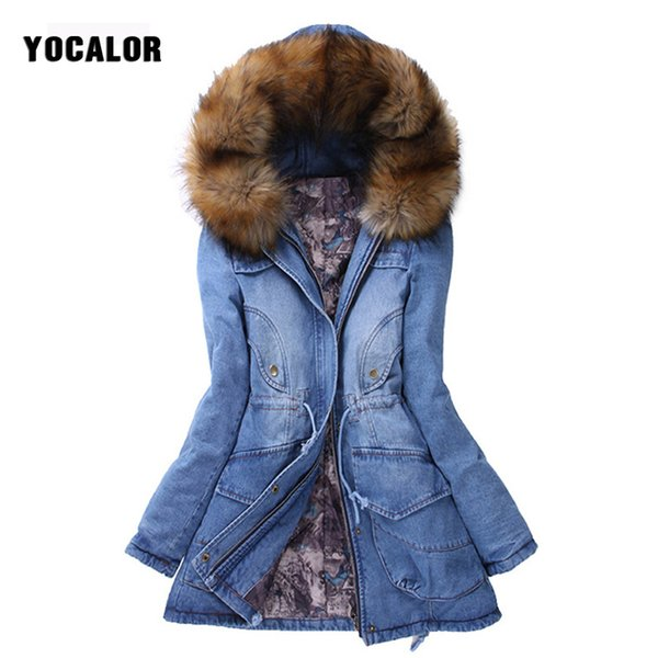 YOCALOR Winter Jacket Women Womens Denim Jackets Warming Raccoon Fur Collar Coat Parka Outerwear Hood Thick Overcoat Park