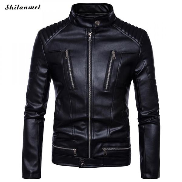 Leather Jackets Coats Newest British Motorcycle Leather Jacket Men Classic Design Multi-Zippers Biker Jackets Male Bomber