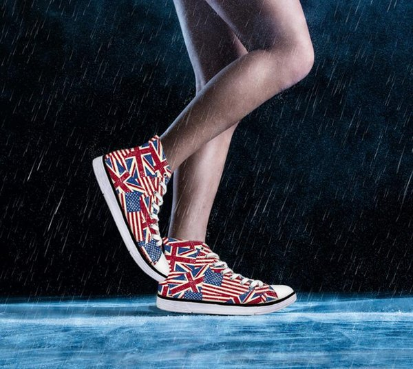 Kids boy Spring flag animal flower canvas printing high-top lace-up racing students running shoe boy tracking nice flat base shoes No.005