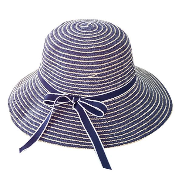 Yaz Şapka Yüksek Kalite Kadınlar Bayanlar Geniş Ağız Hasır Şapka Disket Plaj Güneş Katlanabilir Kap Lot Sombrero mujer # A