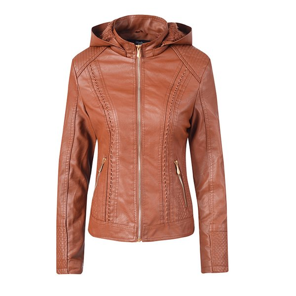 2019 New Fashion Women Jacket Smooth Faux Leather Ladies Long Sleeve Autumn Winter Coat