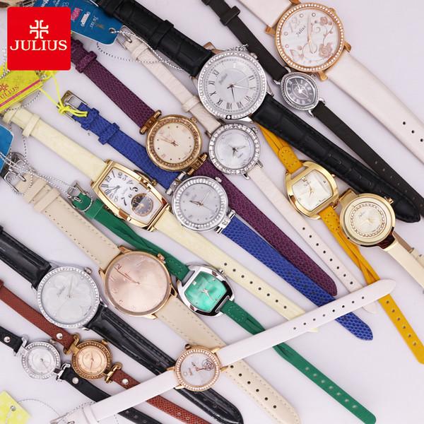 VERKAUF!!! Discount Julius Old Types Lady Damenuhr Japan Mov't Fashion Stunden Armband Echtes Leder Mädchen Geburtstagsgeschenk No Box