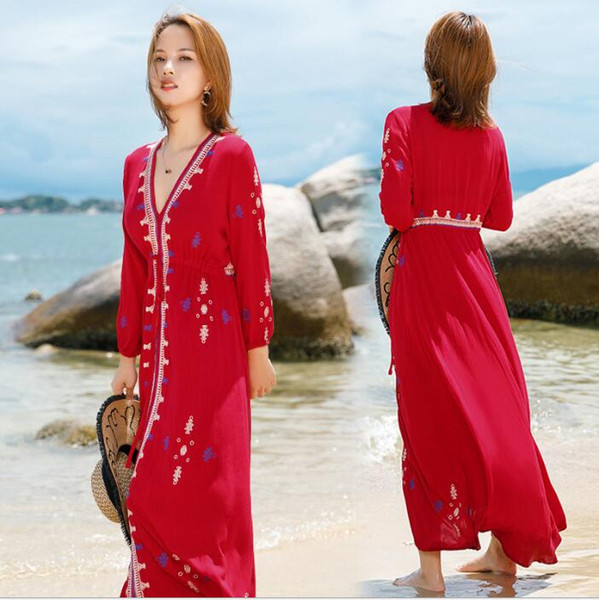 New ethnic style holiday dress female summer retro embroidery V-neck bohemian beach skirt dress