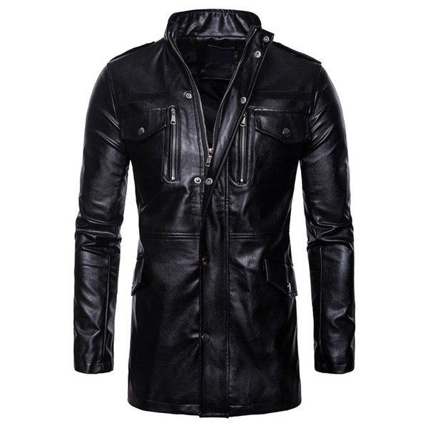 Men Autumn Winter Black PU Leather Jacket Stand Collar Long Sleeve Zippers Pocket Warm Casual Windproof Coat Big Size 5XL 6Q2477