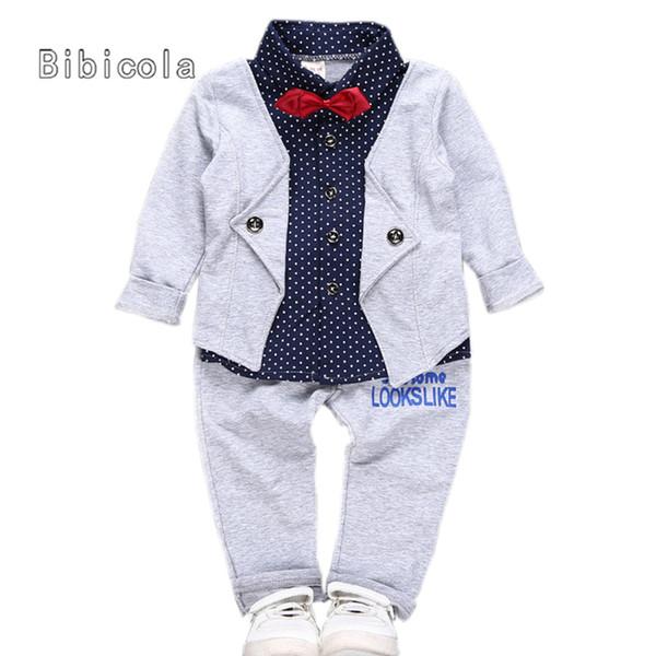 Boa qualidade primavera outono bebê meninos conjunto de roupas infantil 2  pcs define casaco + calça 44682201698
