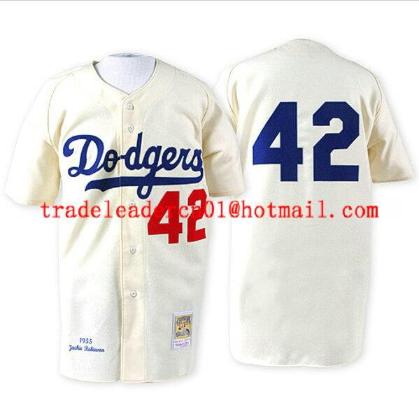 uk availability f9d9c 95d63 2019 Jackie Robinson Day Jersey Los Angeles Brooklyn #42 Dodgers White  Black Blue Cream Retro 1955 Stitched Vintage Baseball Jerseys From ...