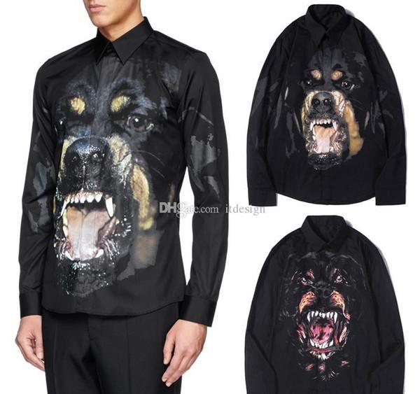 2019 Дизайнер рубашка в черном Для Человек печати Ротвейлер собака Глава Обрезка Фитнес Длинные рукава карманные Casual Cotton рубашки