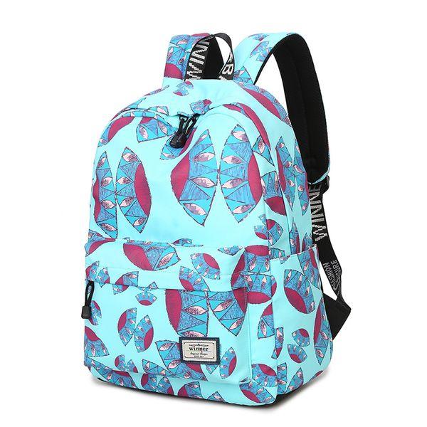 High Quality Waterproof Backpack Women Blue Space Flying UFO Printing Cute Laptop Bookbag Lady School Bag for Teen Girls