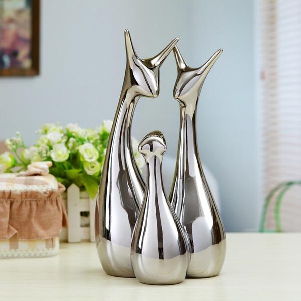 Modern Minimalist Living Room Decor Home Furnishing Gold Silver Ceramic Handicraft Decoration Art Creative Tv Cabinet Y19062803