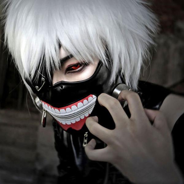 Alta Qualidade Clearance Tokyo Ghoul 2 Máscara Kaneki Ken Máscaras Zipper Ajustável PU de Couro Máscara Legal Blinder Anime Cosplay Máscaras de Halloween
