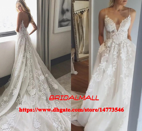 Spaghetti 3D-Floral Appliqued Tulle Boho Beach Wedding Dresses 2k19 Elegant A Line Country Bridal Gowns Cheap Bride Dress Vestidos De Novia