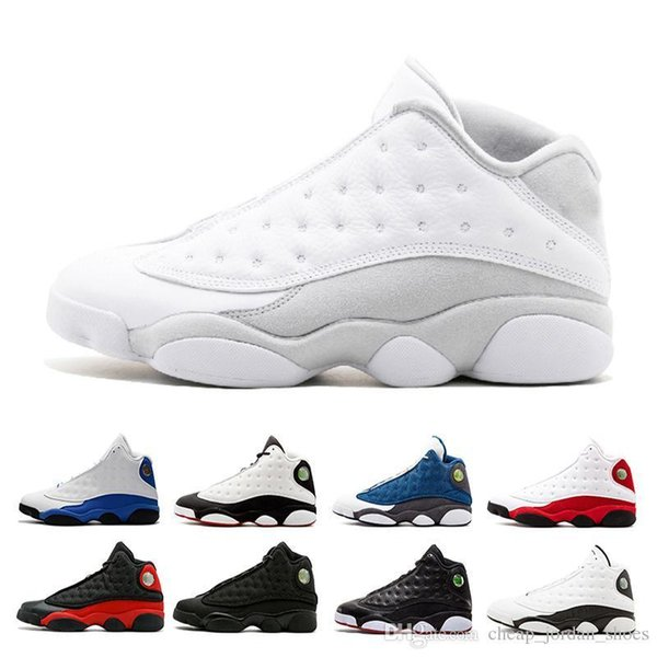 Мужские 13 Дешевые баскетбольные кроссовки Белые кроссовки Altitude выведены плей-офф черных кошек Pure Money Italy Blue Chicago кроссовки спортивная обувь eur 36-45
