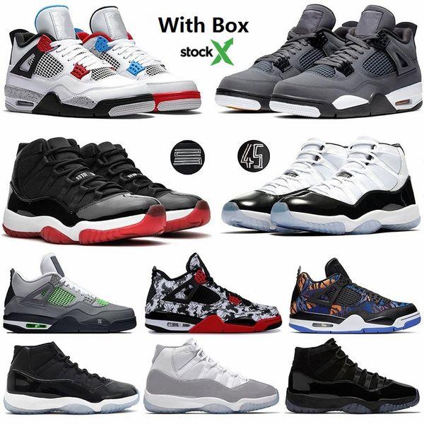 Nouveau 2020 Bred Cactus Jack Cool Gray 4 4s Ce que les chaussures de basket-ball 11 11s Concord 45 Gamma Blue Space Jam Hommes Sport Chaussures de sport avec la boîte