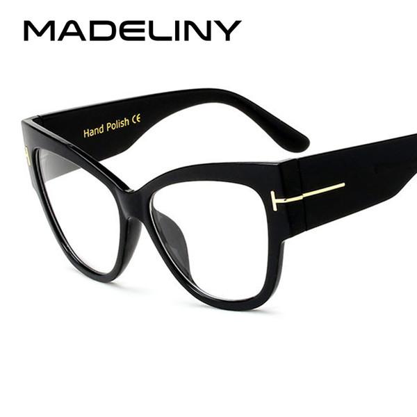 Mode Frauen Cat Eye Brillen Neue Übergroße Vintage Brillengestell Luxus Klare Linse Gläser Lünette