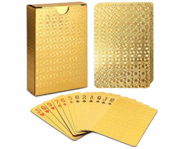 best selling Waterproof Luxury 24K Gold Foil Plated Poker Premium Matte Plastic Board Games Playing Cards For Gift Collection