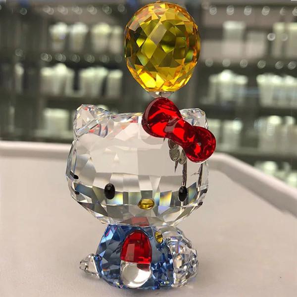 Regalo de boda del ornamento del gato de cristal de alta calidad de la historieta Figuras coche del gato de Aniaml pisapapeles Multicolor Interior, Señora del favor del regalo Y200106