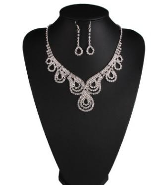 wonderful diamond crystal wedding bridal jewelry necklace earings free shipping 21jjkk