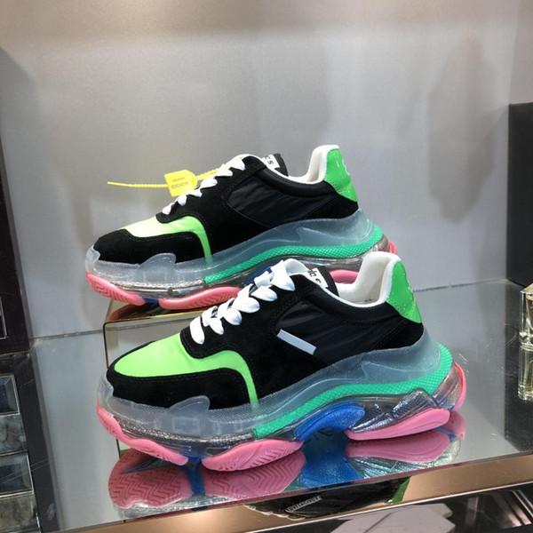 Новые женщины Марка кроссовки, Дизайнерская папа обувь Черный Зеленый Suede Лоскутная Transparent платформы Дно Причинно обувь 35-45