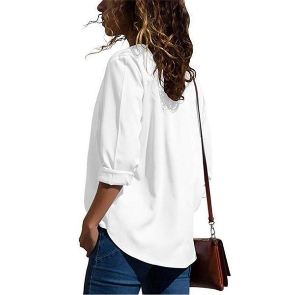 85103a9daa Camisa blanca con cuello de pico para mujer Oficina de algodón Dama de manga  larga Blusa femenina Camisas de primavera negras Mujeres Tallas grandes
