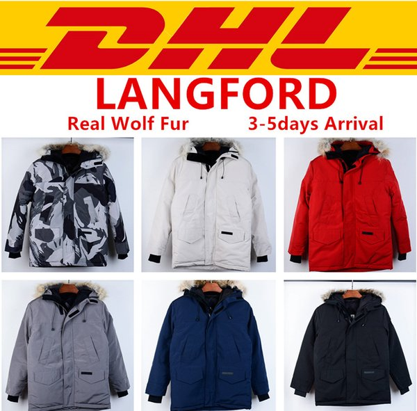 Canada goose Üst Kalite Kanada Marka Tasarımcı LANGFORD PARKA Kabanlar İnce Palto Gerçek Kurt Kürk Kış Aşağı Ceket XS-2XL # 13
