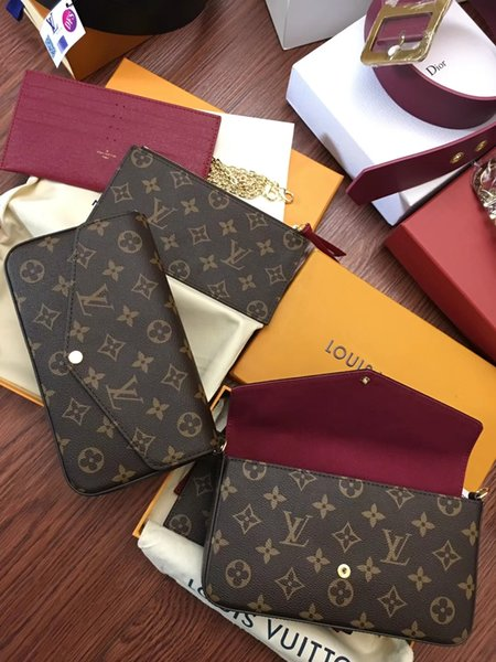 NEUE Neupreis Neue Echtes Leder Mode Kette Umhängetaschen Handtasche Presbyopic Mini Geldbörsen Mobile Kartenhalter modell M61266