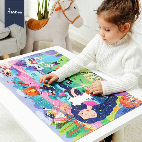 Mideer Kids Large Jigsaw Puzzle Set 100+ Pieces Baby Dinosaur Fairy Tale Sleeping Beauty Educational Toys For Children Gift Q190530