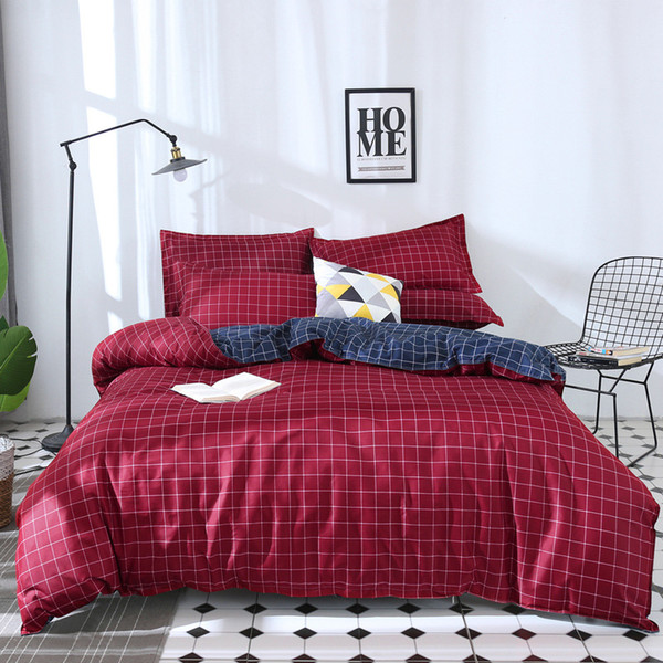 Luxury bedding set kids,Plaid pattern bed bedding,Home Textile King Queen Size Bed Set