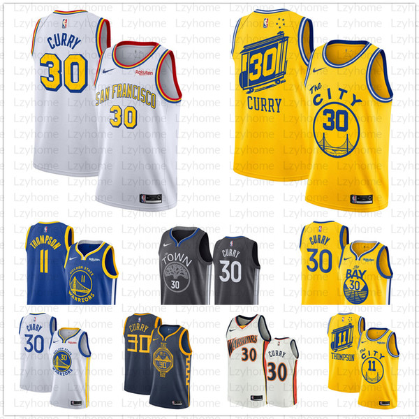 top popular 2019 2020 New Men's Stephen 30 Curry Warriors Jersey Golden State DAngelo D'Angelo 0 Russell Klay 11 Thompson Basketball Jerseys Fri 2019