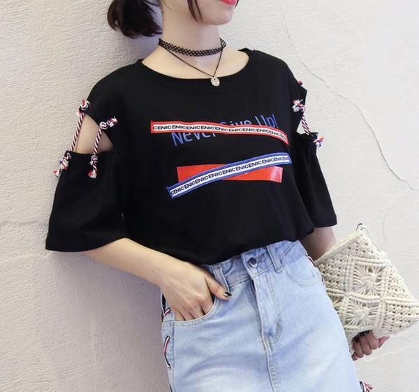 Verão 2019 estilo quente impressão T-shirt nova moda feminina desgaste grande tamanho solto manga curta T-shirt personalidade oco costura manga curta