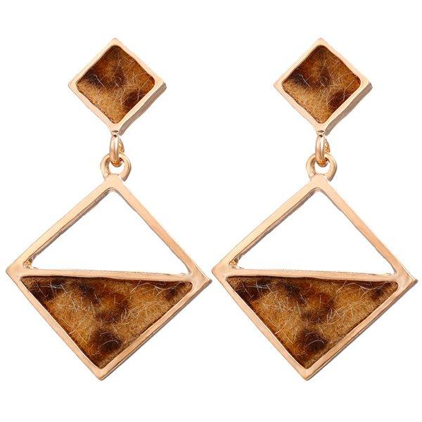 Leopard Splice Geometric Rhombus Triangle Drop Earring Brincos oorbellen Simple Long Statement Earrings For Women Jewelry
