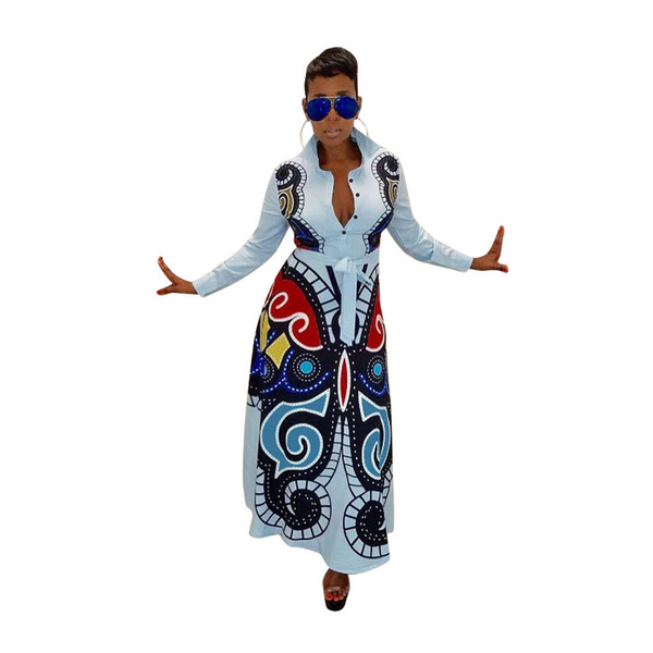 S-xxxl Women New 3d Butterfly Printed Long Sleeve Turn-down Neck High Waist Fit Flare Long Maxi Dress Casual Vestidos Gld8239 J190530