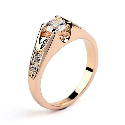 Elegant CZ Diamond Wedding Rings Silver Color Platinum/Rose Gold Plated Cubic Zircon Engagement Jewelry For Men And Women Wholesale DFR249