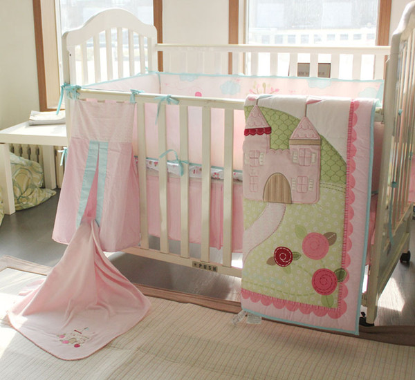 Spanish Baby Organizer for infant girl Crib bedding set 9Pcs Cot Bumper set Quilt Bumper Mattress Cover Skirt Embroidered bird trees castle
