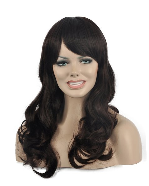 Women New Long Charming Brown Oblique Bangs Fiber Wavy Curly Kanekalon Heat Resistant Cosplay Party Hair Full Wig Wigs