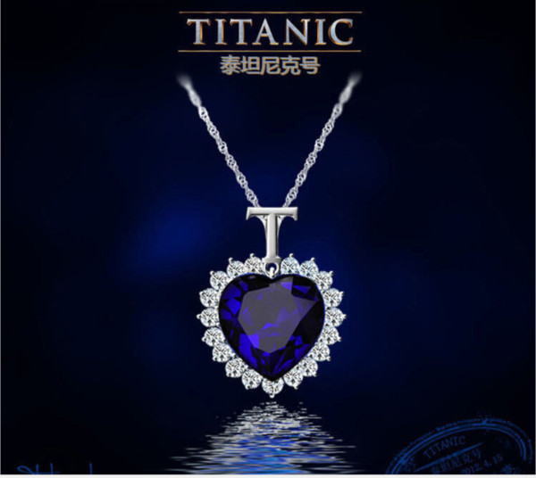 European and American hot items marine star heart-shaped crystal pendant blue gemstone necklace jewelryWater wave chain