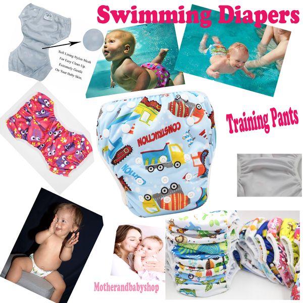 Baby Swimming Diapers Reusable Swim Diaper Training Pants Cute Cartoon Toddler Swimming Nappies Summer Swimwear Short Trunks Bathing Pants