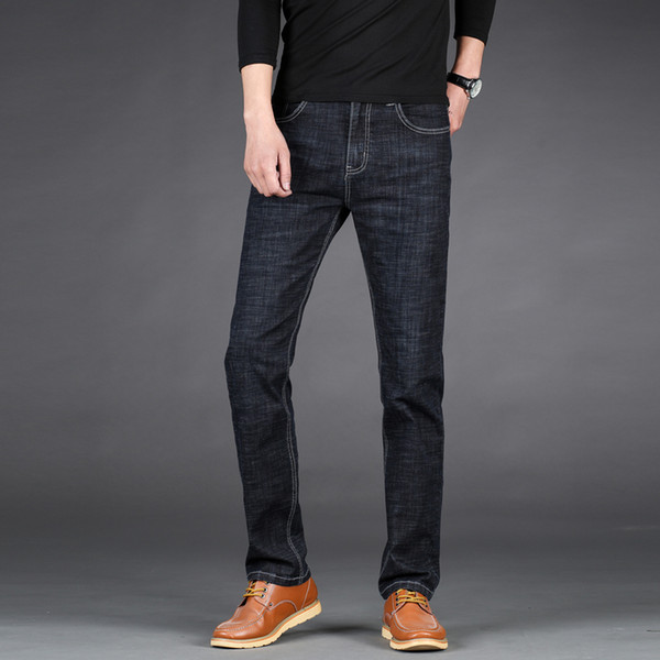 2019 New Fashion Casual Jeans Business Stretch Straight Denim Trousers Pants Male Plus Size 40 42 44