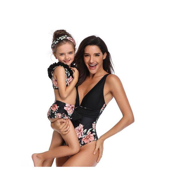 Parent-Child Swimsuit Female Swimsuit Bow Back Female One-Piece Swimming Suit Black Piece Print Solid Color 4