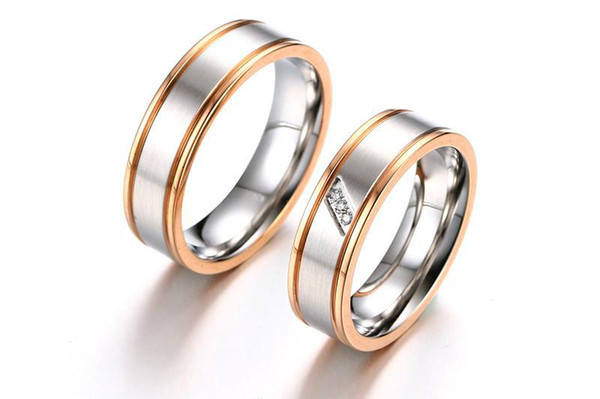 2Pcs Two Tone Matching Ring Set for Women Men Lover Stainless Steel Cz Diamonique Couple Ring Wedding Engagement Jewelry Gift CR-132