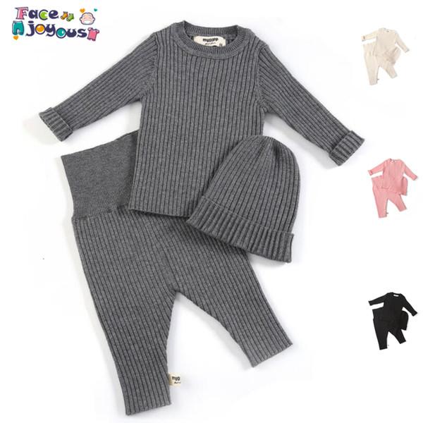 Bambino che coprono le Knit neonate vestiti ragazzi del bambino del cappello dei vestiti maglione e pantaloni Baby Set Bambini Design Clothes 0-3 YearsMX190916