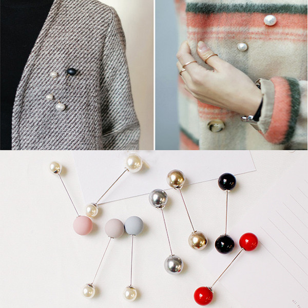 Nachahmung Perle Brosche Pins Klassische Charme Hochwertige Pullover Zubehör Einfache Doppel Perlen Broschen Frau Mädchen Schmuck Billig Großhandel