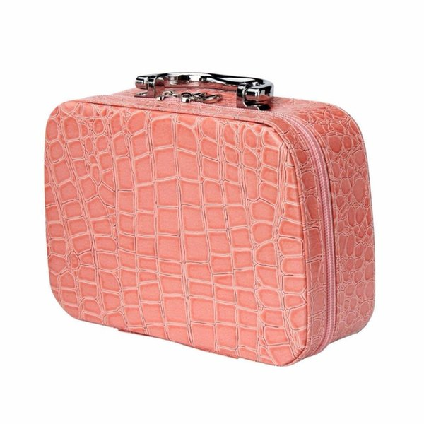 2017 new hot Colorful Fashion Makeup Storage Bag Case Jewelry Box Leather Travel Cosmetic Organizer wedding birthday gift 8color