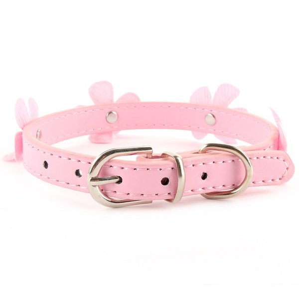 dog cat Adjustable Flower Neck Strap Pet Small Dog Cat PU Leather Collar Buckle XS S M L