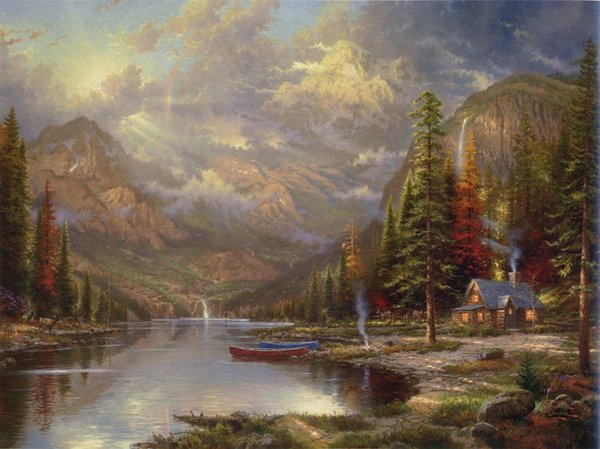 art,oil painting ,Landscape painting ,Frame painting -Mountain valley- Unframed Modern Canvas Wall Art for Home and Office Decoration.